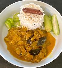 Bilimbi masala with toasted coconut rice