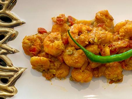 Andhra dry curried shrimp (Vienchana royyaalu)