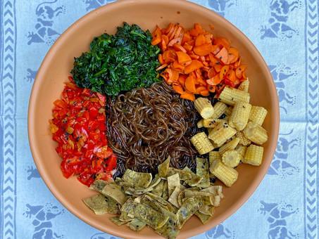 Vegetables with glass noodles (Japchae)