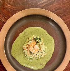 Thai green pancakes, green curry, poached shrimp