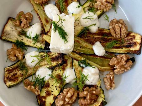 Turkish zucchini, feta, dill and walnut salad