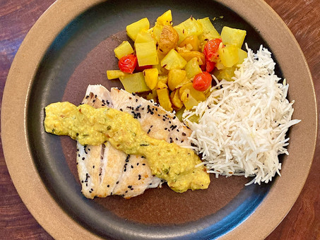 Seared sea bass with bottle gourd stir-fry and fenugreek sauce
