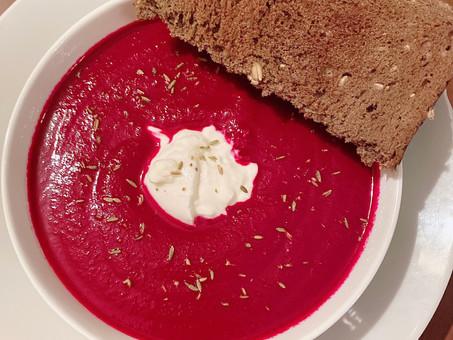 Burrata and beet soup