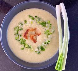Leek and scallion soup with potato gnocchi
