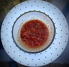 Salata mashwiya or Israeli spicy roasted pepper dip