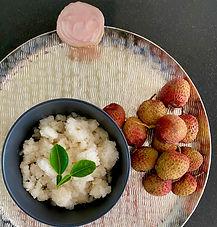 Lychee and kaffir lime granita