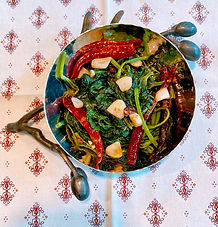 Stir-fried yam leaves with chilies and Sichuan pepper