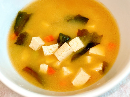 White miso soup with red dulse and ginger