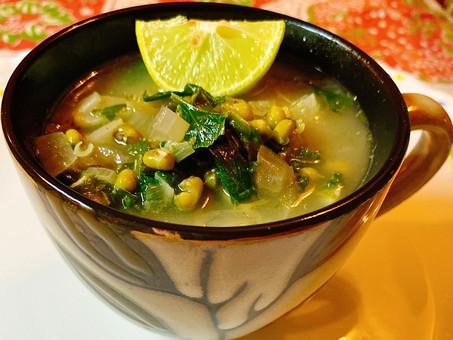 Lebanese garlicky lentil soup with Swiss chard and lemon (Rushta/Rishta)