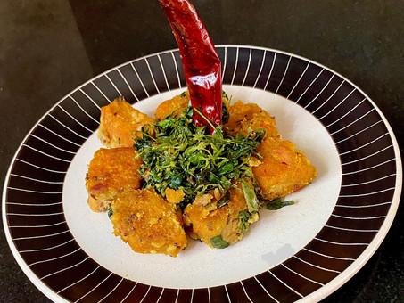 Stir-fried fenugreek leaves with lentil crumble
