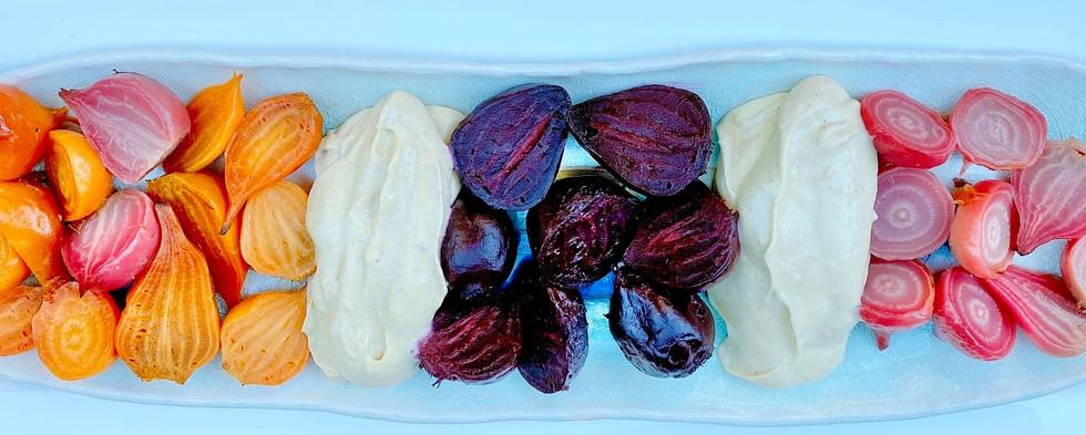 Roasted beets with Avocado-Habanero crem