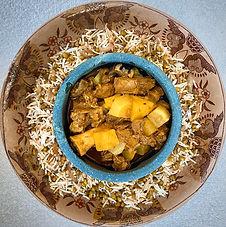 Lamb and turnip stew (Shalgham Challaw) with Mung bean rice (Maash Palaw)