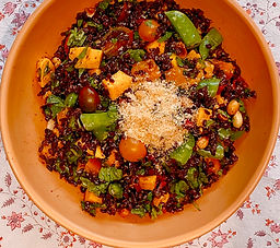 Eastern black rice, mango, and tomato salad with coconut