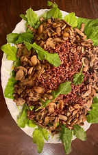 Sautéed wild mushrooms, wild rice, roasted garlic, rocket