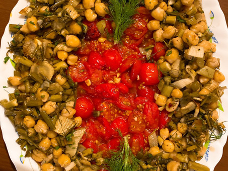 Roast tomatoes, fennel and chickpeas with preserved lemons and honey