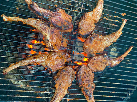 Grilled lamb chops with Moroccan spices basted in ghee