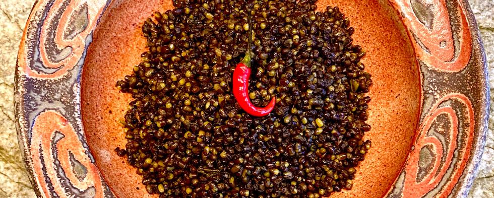 Dry spiced black lentils