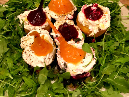 Colored beet, ricotta, and goat's cheese mille-feuille with hazelnut vinaigrette