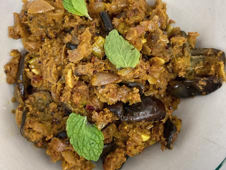 Kerala-style eggplant curry (Enna kathrikai)