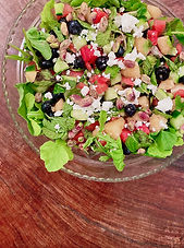 Melon, blueberry, and feta salad with ginger and mint.