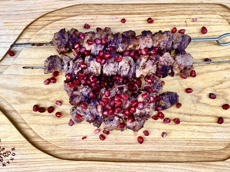 Sour pomegranate and walnut kebab or Kebab Torsh