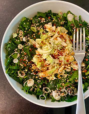 Kale salad with slivered Brussels sprouts and sesame dressing