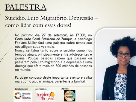 """Participe gratuitamente da palestra informativa """"Suicídio, Luto Migratório e Depressão"""""""