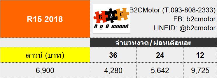 ตารางผ่อน YAHAHA R15 2018 ดาวน์ 6,900