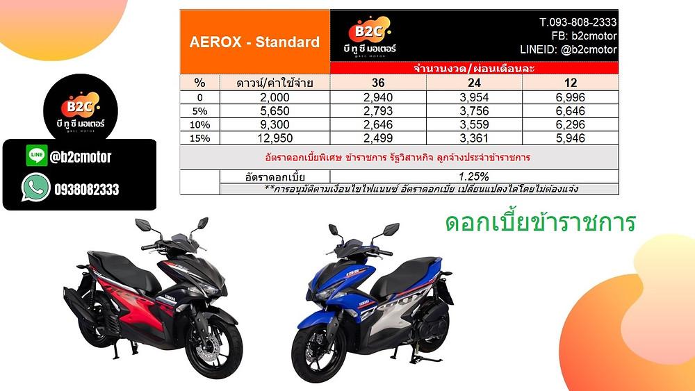 ตารางผ่อน แอร็อกซ์ Aerox ตัวท็อป ABS   ดอกเบี้ยพิเศษข้าราชการ 1.25%