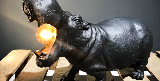 Black Hippo Lamp