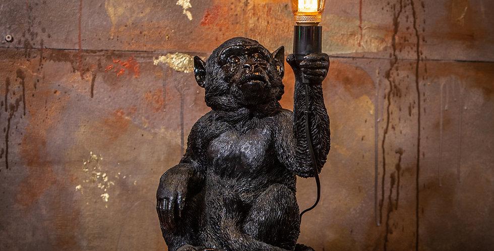 Black Sitting Monkey Lamp