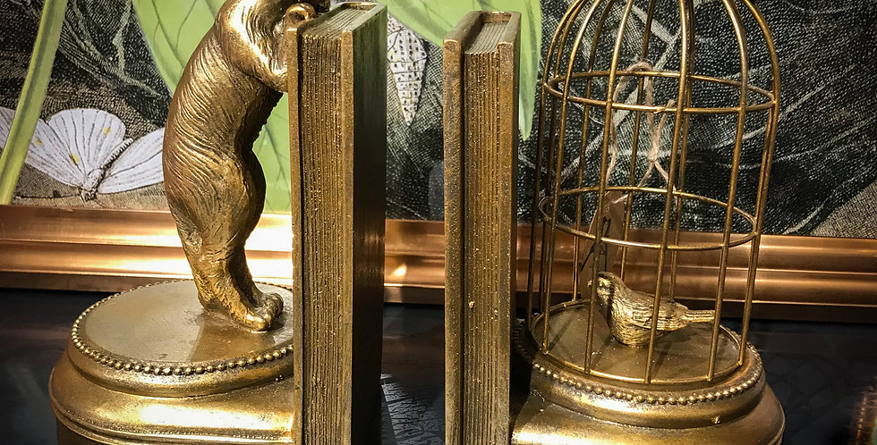 Antique Gold Curious Cat Bookends