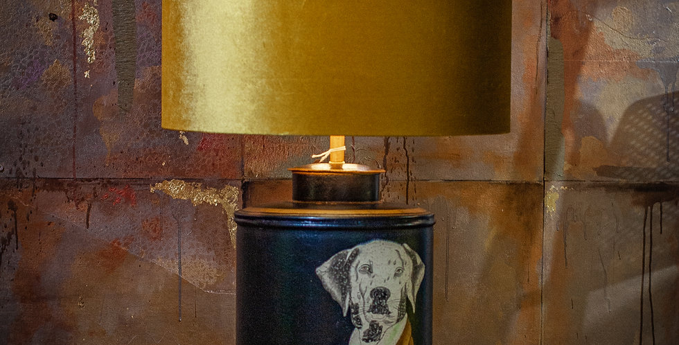Black Painted Dog Lamp