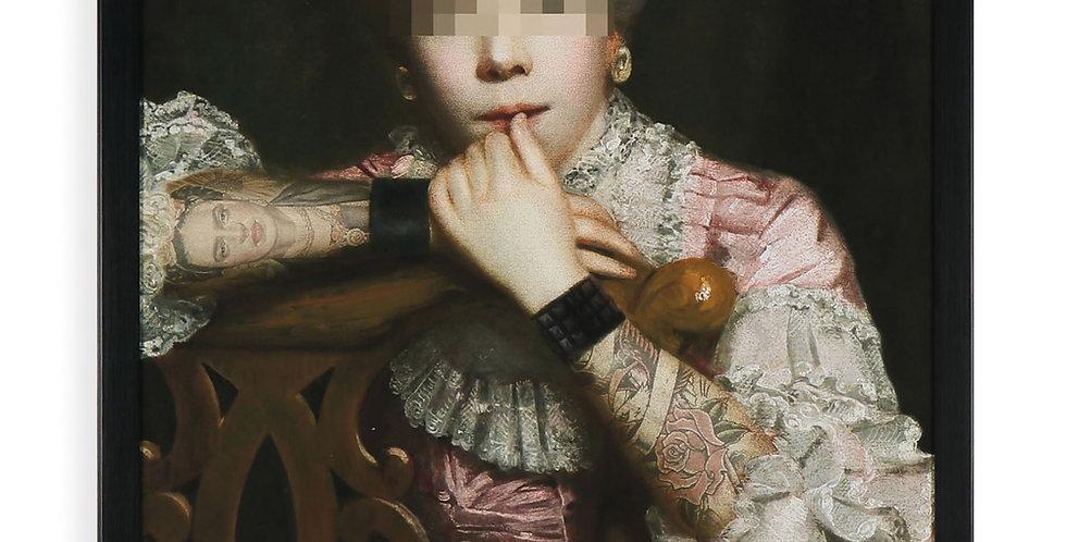 Classical Inked Portrait Pink Dress
