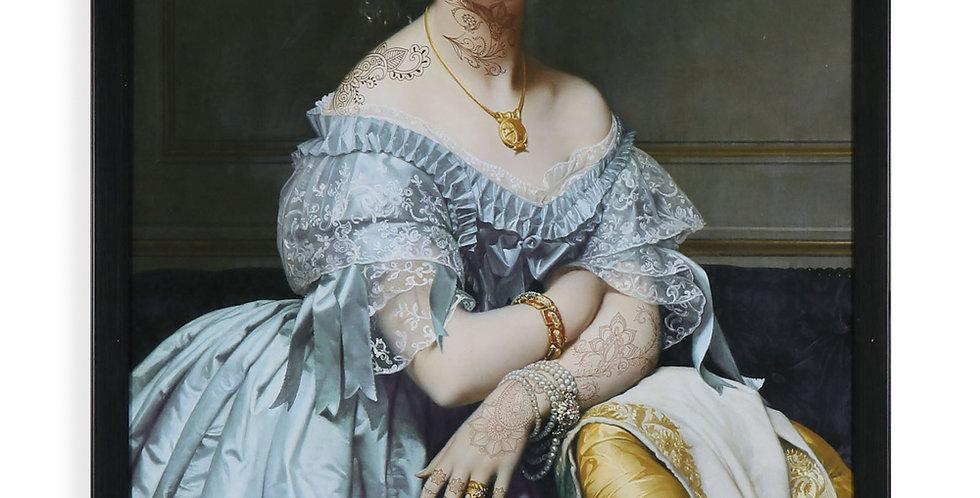 Classical Inked Portrait Blue Dress