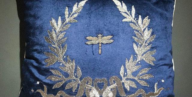 Navy Silver Cushion
