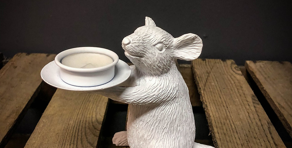 Right White Mouse Tea Light Holder