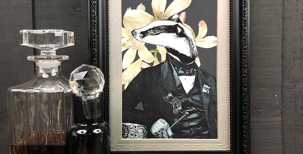 PRINT Badger in suit