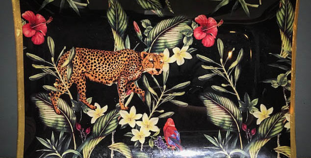 Large Tropical Plant & Leopard Trinket Tray