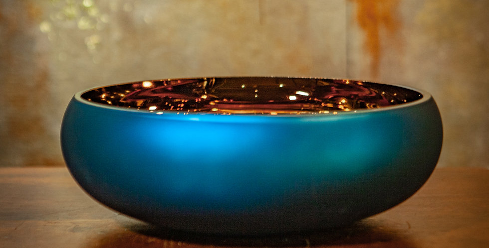 Blue and Bronze Glass Bowl