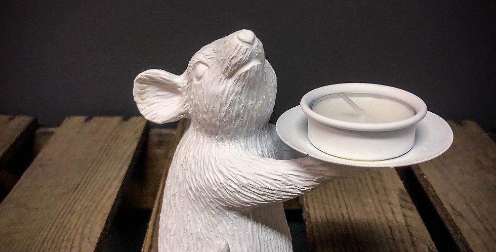 Left White Mouse Tea Light Holder