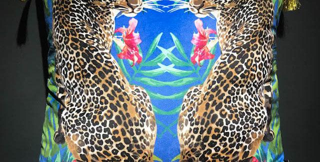 Blue Twin Jaguar Cushion