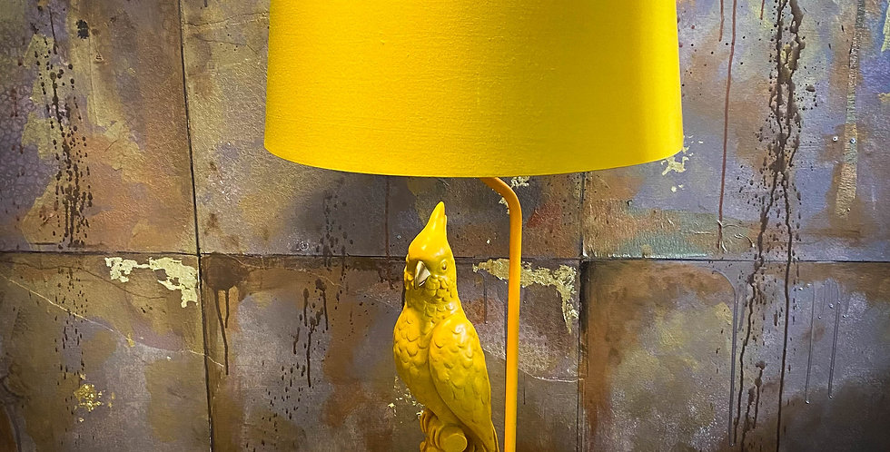 Matt Mustard Yellow/Orange Parrot Table Lamp with Metallic Lined Shade