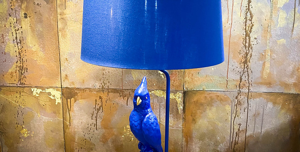 Matt Blue Parrot Table Lamp With Metallic Shade