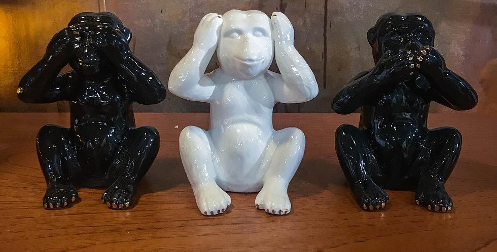 Mini Black and white see no evil monkeys
