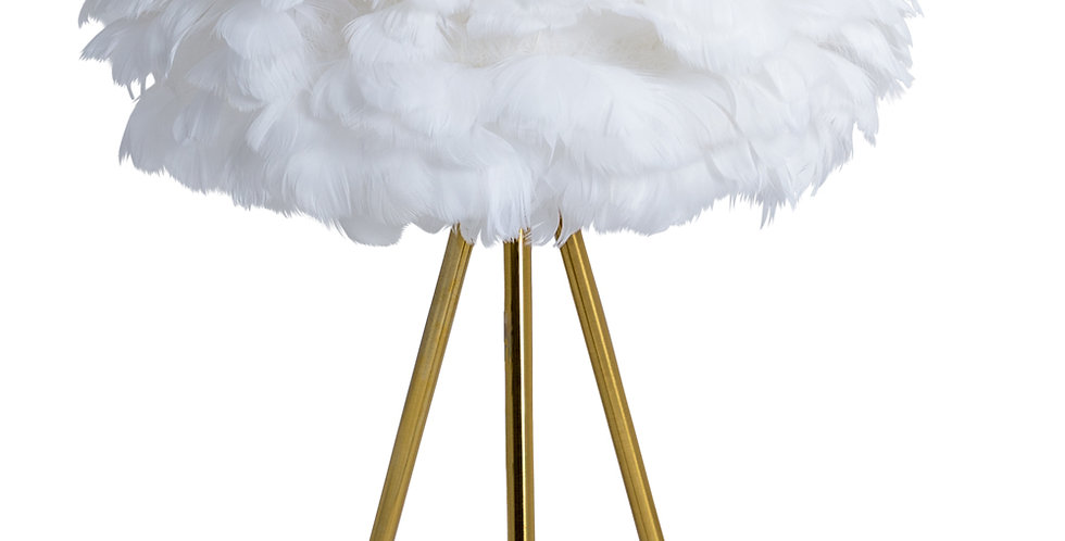 Brushed Brass Tripod Table Lamp With Feather Shade