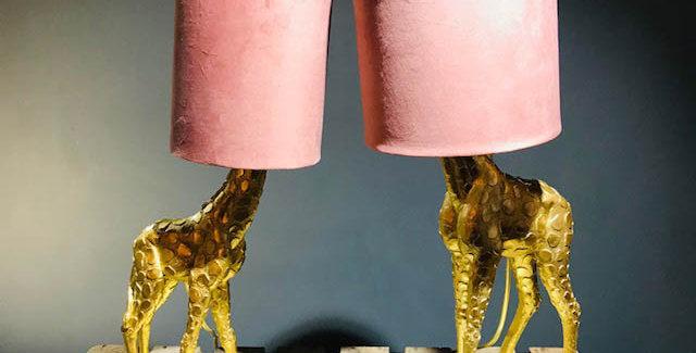 Large/Small Gold & Pink Giraffe Lamp