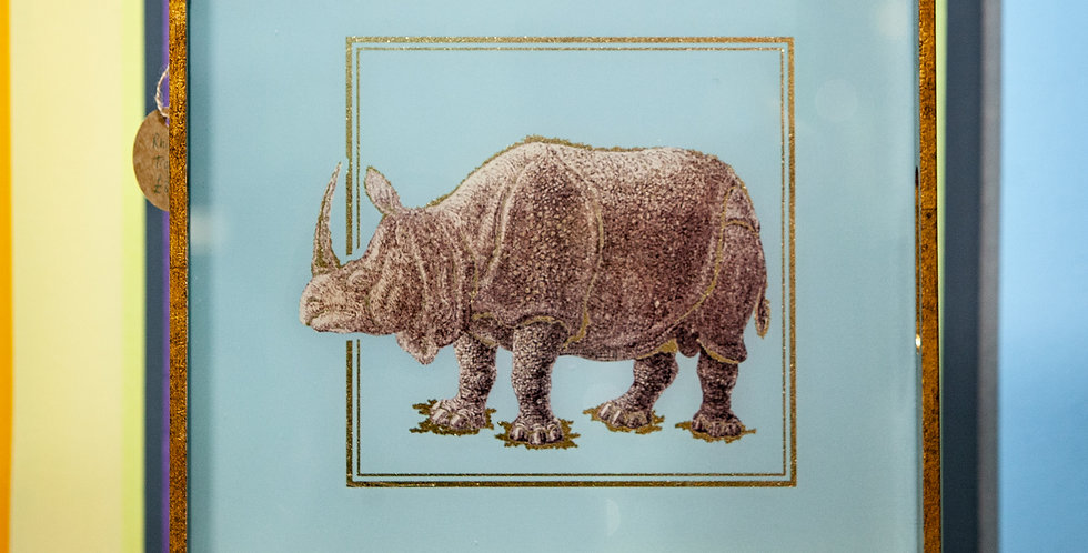 Rhino Tray - Gold and Turquoise