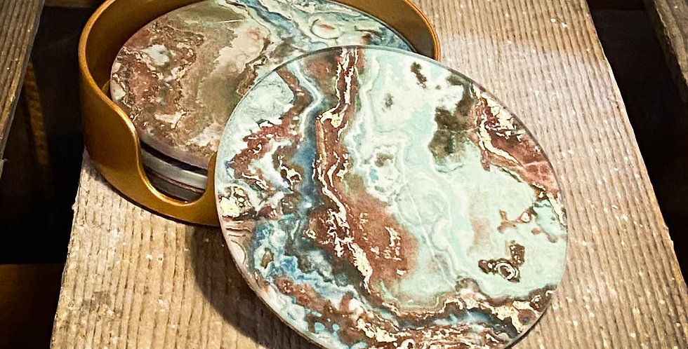 4 Green marble effect coasters