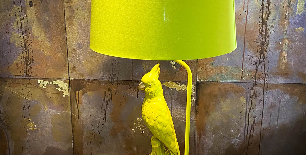 Matt Chartreuse Yellow Parrot Table Lamp with Metallic Lined Shade